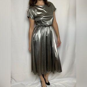 Vtg Liquid Silver Dress by Rhodes Collections